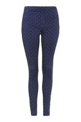 Topshop Spot Denim Leggings Navy Blue