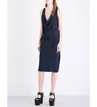 Anglomania Ruched Crepe Dress Navy