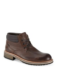 Andrew Marc New York Wilson Two Tone Leather Boots Tan