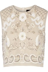 Needle And Thread Embellished Chiffon Top Cream