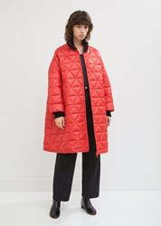 Hache Quilted Rib Collar Bomber Jacket Red