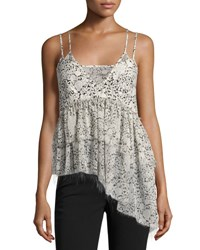 Cinq A Sept Yelena Floral Tiered Raw Edge Camisole Top Black White Black White