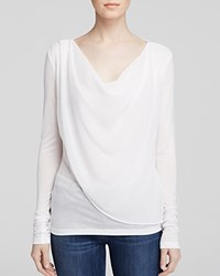 Velvet By Graham And Spencer Draped Chiffon Overlay Tee Milk