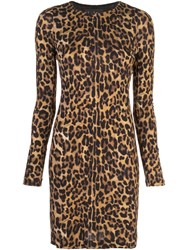 Nicole Miller Leopard Print Mini Dress Brown