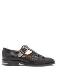 Toga Dolly T Bar Woven Effect Leather Loafers Black