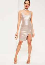 Missguided Nude Faux Suede Shimmer Choker Midi Dress