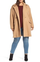 Leith Plus Size Oversize Double Breasted Coat Tan