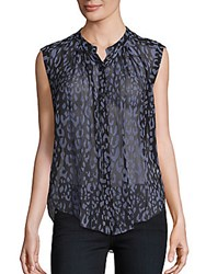 Rebecca Taylor Sleeveless Leopard Print Silk Blouse Black Blue
