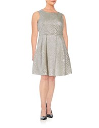 Junarose Quilted Metallic Fit And Flare Dress Silver