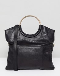 Urbancode Leather 2 Way Flapover Clutch With Ring Handles Black