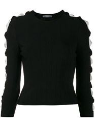 Alexander Mcqueen Ribbed Cut Out Sleeve Jumper Black