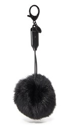 Rebecca Minkoff Power Puff Fur Keychain Black