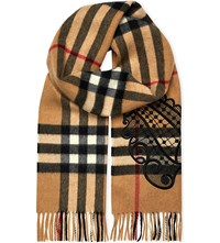 Burberry Giant Check And Embroidered Lace Cashmere Scarf Camel Black