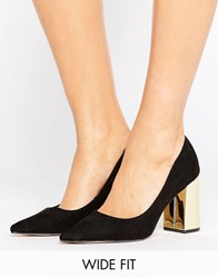 New Look Wide Fit Suedette Shoe With Gold Block Heel Black