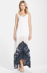 Fraiche By J Women's Border Print Crepe A Line Maxi Dress White Black