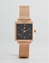Asos Rose Gold Square Face Mesh Watch Rose Gold Copper
