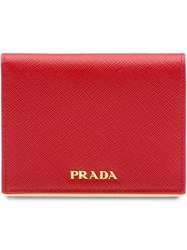 Prada Small Saffiano Leather Wallet Red
