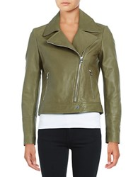 Karl Lagerfeld Leather Moto Jacket Sage