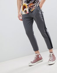 Pull And Bear Pullandbear Trousers With Side Stripe In Grey