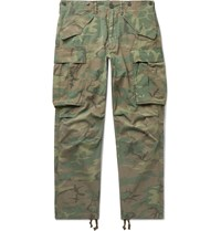 Rrl Camouflage Print Cotton Ripstop Cargo Trousers Green