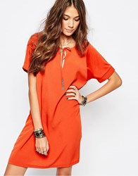 First And I Tie Detail Shift Dress Rust Orange Red