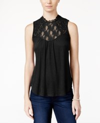 American Rag Sleeveless Lace Inset Top Only At Macy's Black