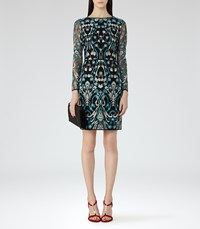 Reiss Alianna Womens Embroidered Dress In Green