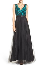 Aidan Mattox Women's Embroidered Mesh Fit And Flare Gown