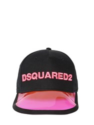 Dsquared Logo Embroidered Cotton Baseball Cap Black Fuchsia
