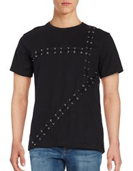 Laboratory Lt Man Grommet Lace Up Tee Black