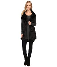 Dylan By True Grit Plush Faux Black Rose Embossed Fur Long Snap Vest Black Women's Vest