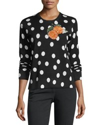 Dolce And Gabbana Orange Embroidered Polka Dot Top Multi Multi Pattern