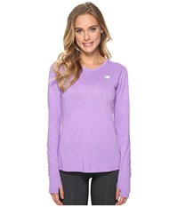 New Balance Heathered Long Sleeve Shirt Alpha Violet Heather Women's Long Sleeve Pullover Purple