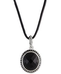 Peter Thomas Roth Onyx 8 5 8 Ct. T.W. And Black Spinnel Leather Cord 20 Pendant Necklace In Sterling Silver