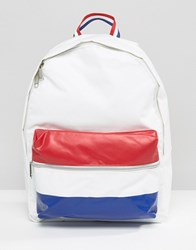 Le Coq Sportif White Leather Look Backpack With Tricolore Pocket Optical White