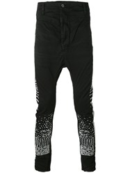 11 By Boris Bidjan Saberi Embroidered Slim Fit Jeans Men Cotton Spandex Elastane L Black