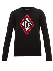 Dolce And Gabbana Monogram Intarsia Cashmere Sweater Black