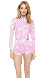 Cynthia Rowley Pink Embellished Floral Wetsuit Pink Floral