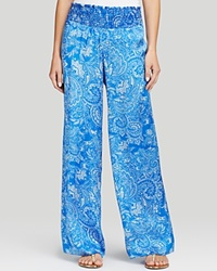 Moon And Meadow Paisley Wide Leg Silk Pants