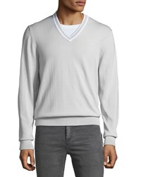 Michael Kors Cotton V Neck Sweater W Tipping Gray