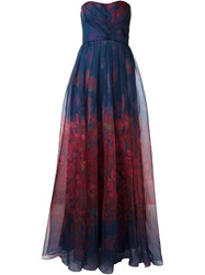 Badgley Mischka Printed Strapless Flared Long Dress Blue