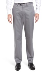 Nordstrom 'S Big And Tall Men's Shop Smartcare Tm Classic Supima Cotton Flat Front Trousers Grey Shade