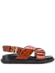 Marni Fussbett Crocodile Effect Sandals 60