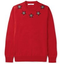 Givenchy Star Appliqued Cotton Sweater Red