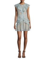 Bcbgmaxazria Ruffled Lace Dress Aqua Mist