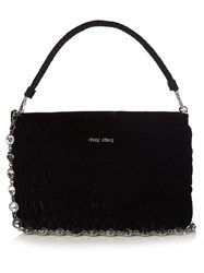 Miu Miu Bandoliera Quilted Velvet Pouch Black