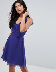 Zibi London Belted Skater Dress With Frill Overlay Sax Blue