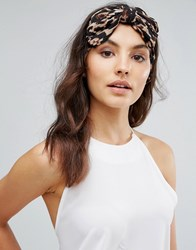 Johnny Loves Rosie Leopard Print Bow Hairband Brown