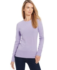 Jm Collection Petite Crew Neck Button Sleeve Sweater Only At Macy's Lilac Frost