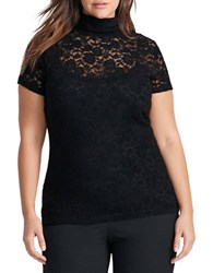 Lauren Ralph Lauren Plus Lace Mock Turtleneck Top Black
